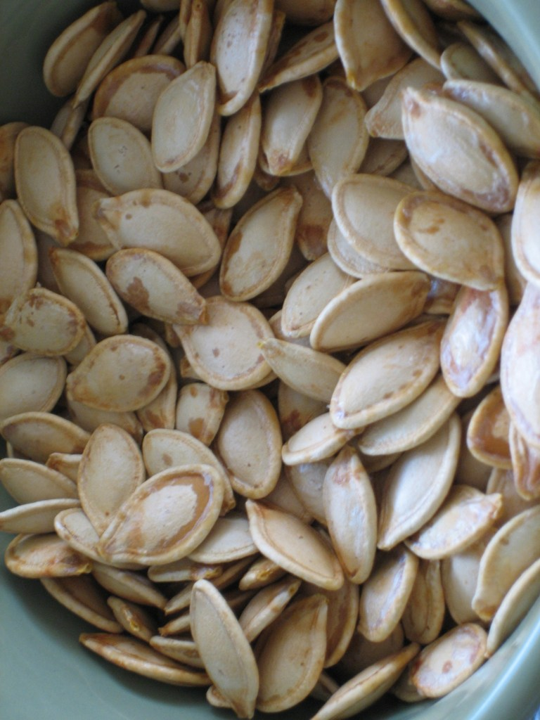 Healthy Roasted Pumpkin Seeds via Brittany's Pantry