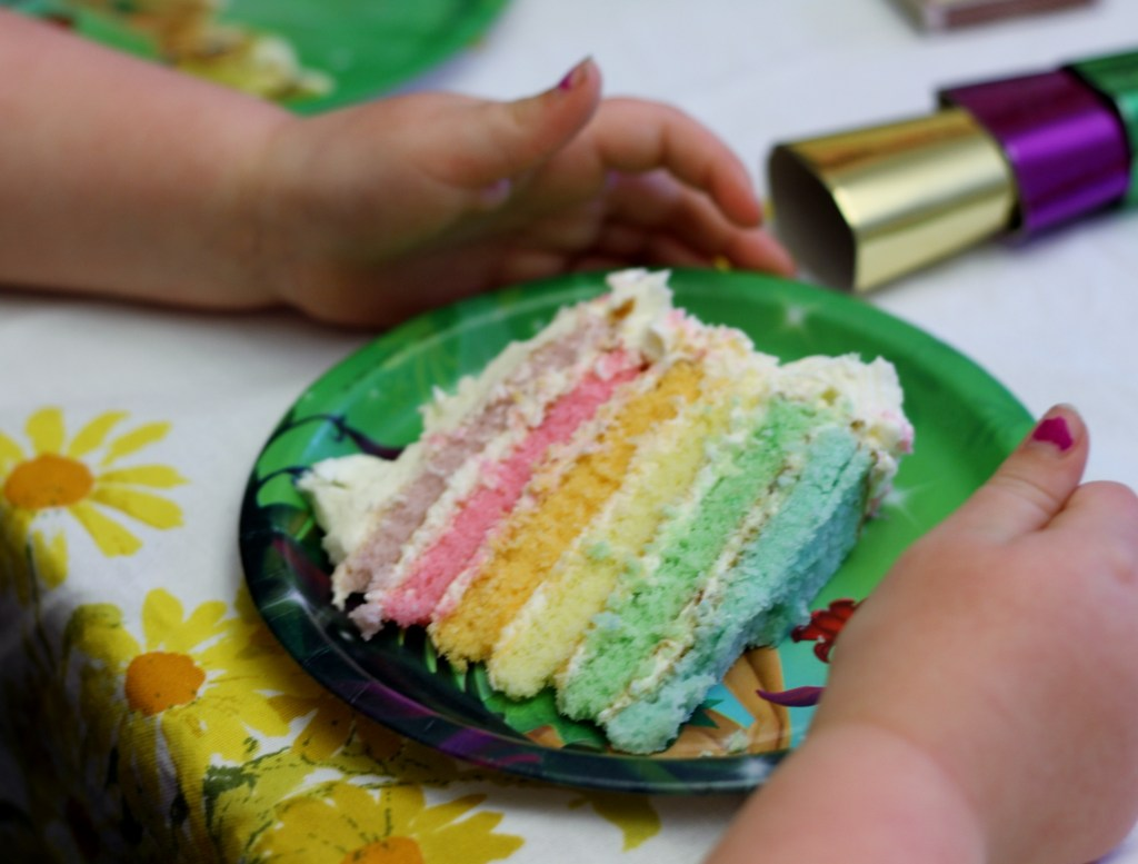 White Chocolate Rainbow Cake is moist, decadent, and SO much easier than you think!  {Brittany's Pantry}
