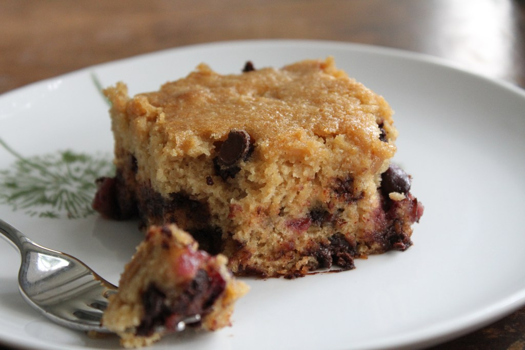 Chocolate Chip Cherry Snack Cake is so easy! {Brittany's Pantry}