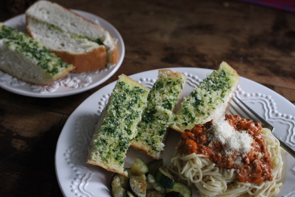 Garlic Herb Bread is easy and incredibly addictive. Awesome with pasta or a salad, but equally good on its own as an appetizer. Mm. {Brittany's Pantry}