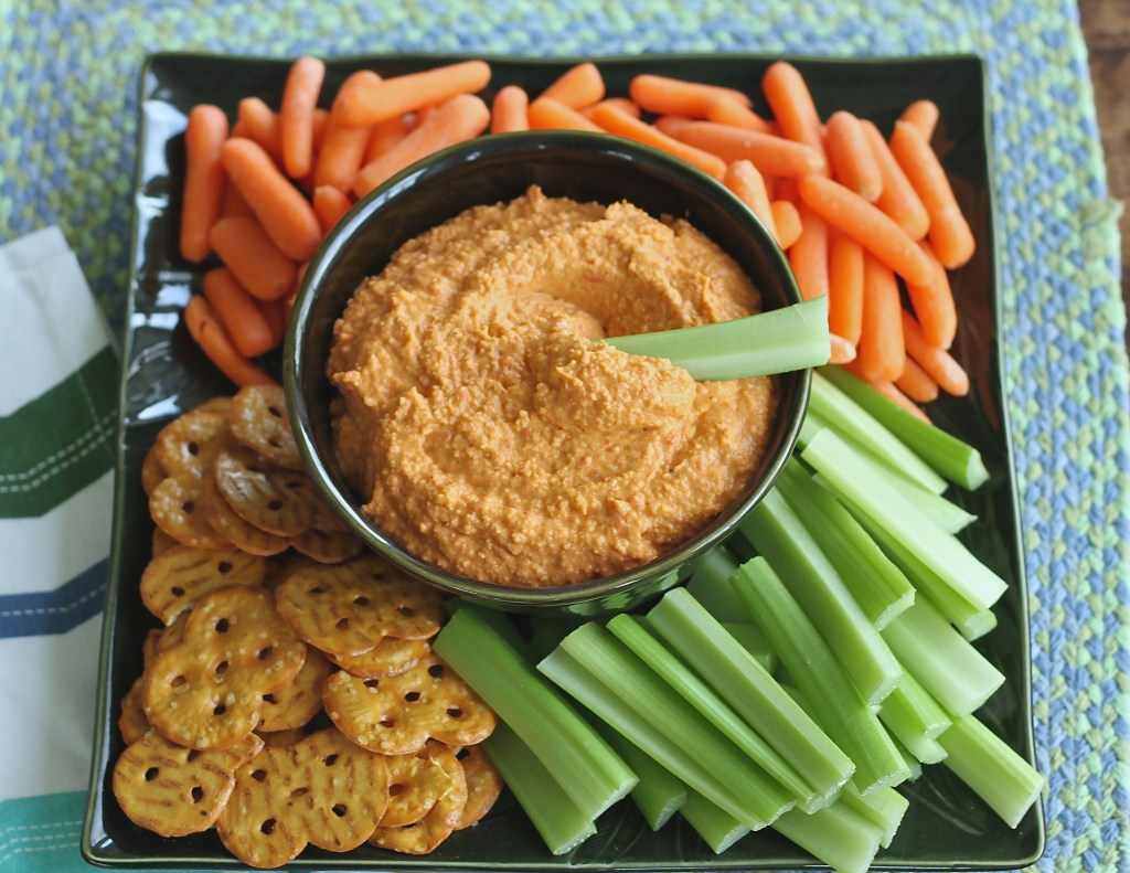 Roasted Red Pepper Hummus is incredibly easy and way better for you than the store-bought stuff! {Brittany's Pantry}