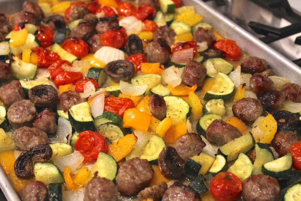 Easy Roasted Veggies W/Sausage is the perfect summer meal! {Brittany's Pantry}