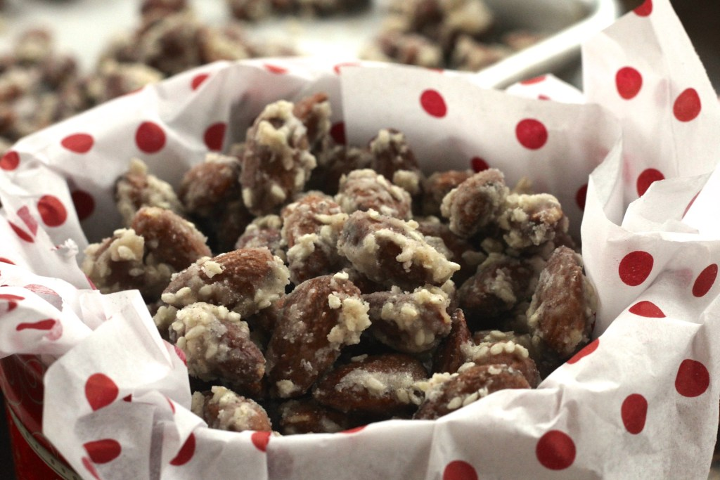 These Toasted Sesame Almonds are easy and wonderfully stackable! Perfect to nosh on during a holiday party, cocktails, or as a festive snack! {Brittany's Pantry}