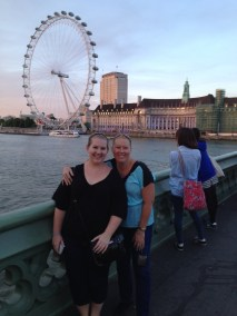 mom and I in front of the London Eye