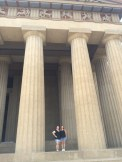 mom and I in front of the Parthenon