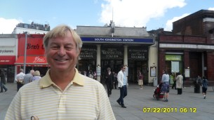 dad in front of the South Ken. tube station