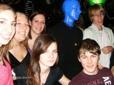 group with a Blue Man from the Blue Man Group