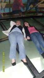 Kelly and I laying on the glass floor