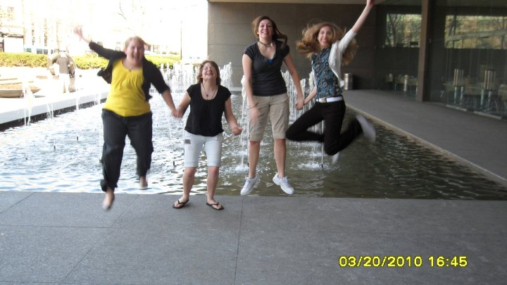 group trying to get a jump shot at the museum