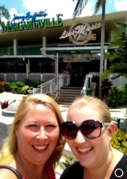 mom and I in front of Margaritaville