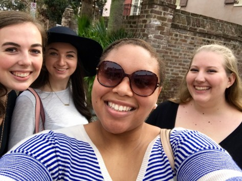 Sarah, Dianna, Gabby, and I walking around the College of Charleston