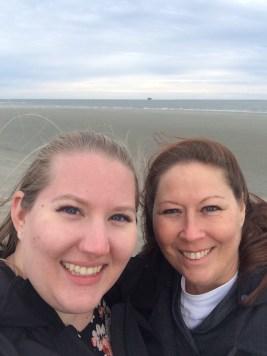 mom and I freezing on Sullivan's Island
