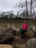 mom in front of the Columbia Canal