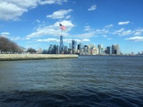 Ellis Island in the foreground with the skyline in the background