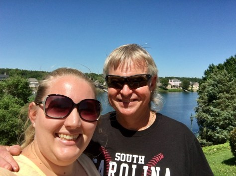 dad and I in front of the Augusta Riverwalk