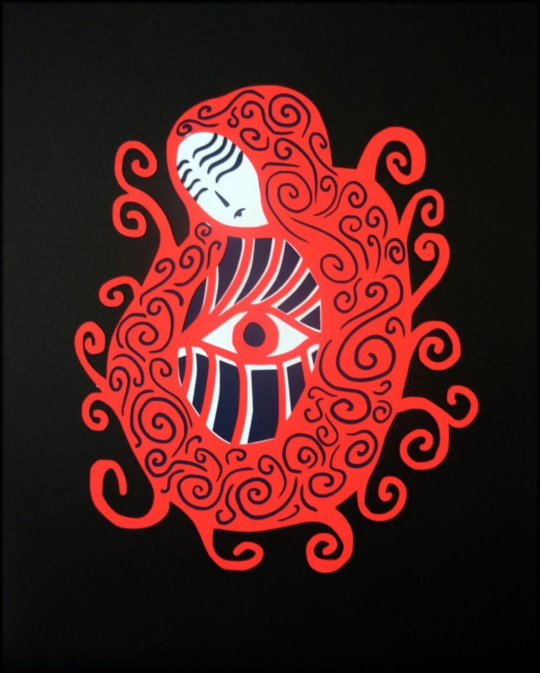 Paper cut art based on the story of Red Riding Hood, it shows a girl in a red cloak with repeating vine patterns and abstracted eyes.