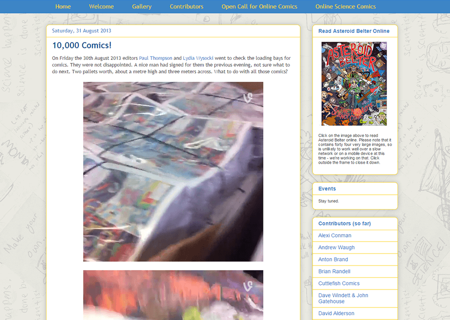 Newcastle Science Comic project blog post celebrating the delivery of 10,000 comics.