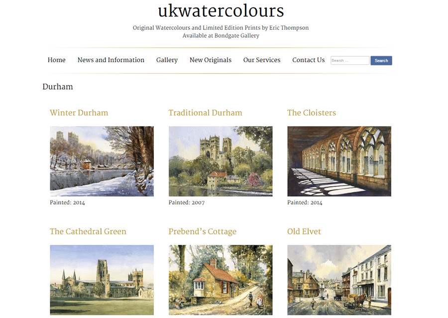 ukwatercolours website screenshot showing the painting image gallery