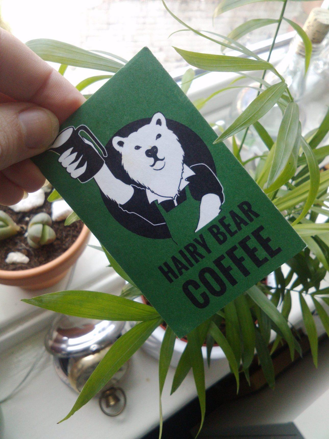 The Hairy Bear Coffee Loyalty Card, logo design by Britt Coxon.