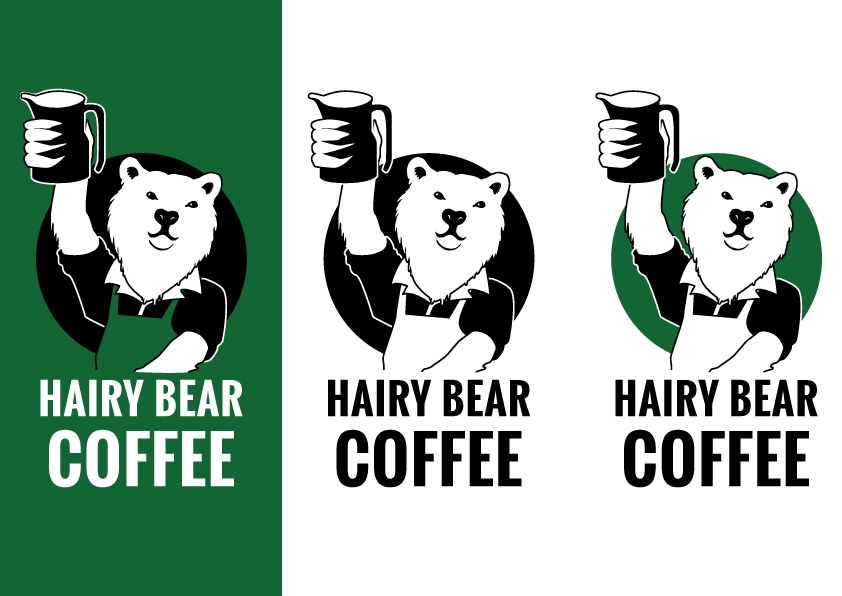 Hairy Bear Coffee Logo, the logo is a bear wearing a shirt and apron holding a steamer jug aloft, similar to soviet constructivist style posters.
