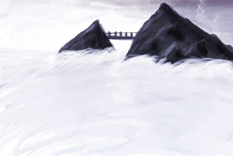 A digital painting of mountains visible above clouds, or water and fog, or both. There is a bridge connecting the two mountains and lightning strikes somewhere behind them.