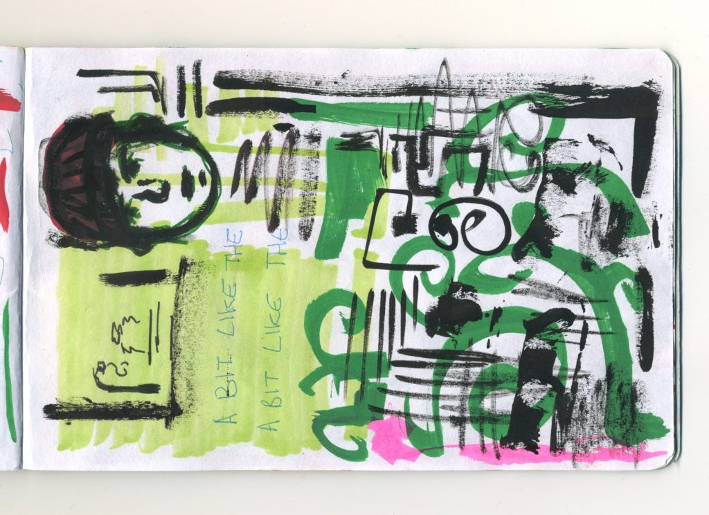 An abstract sketch in marker pen, brush pen and washi tape.