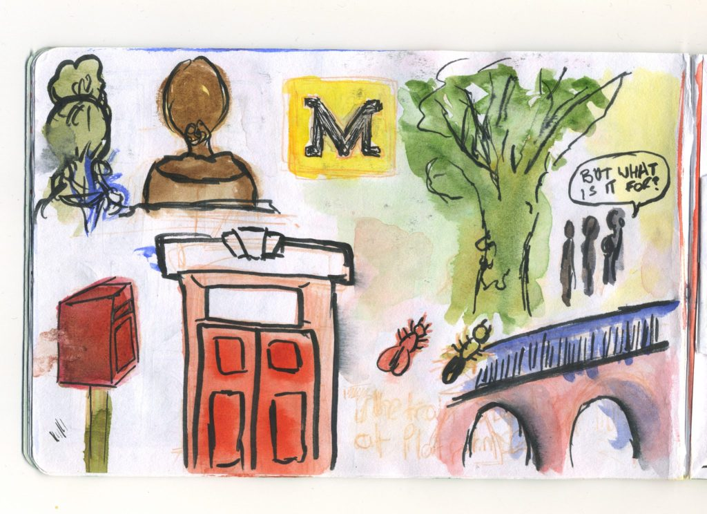 A watercolour sketch of various sights around Newcastle.