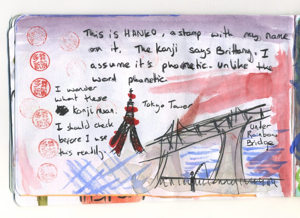 A journal sketch of Tokyo Tower.