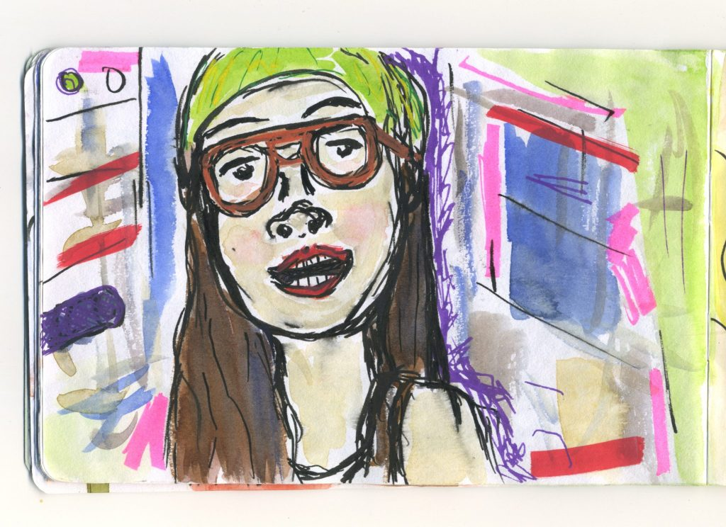 A watercolour sketch of Awkwafina, during one of her videos.