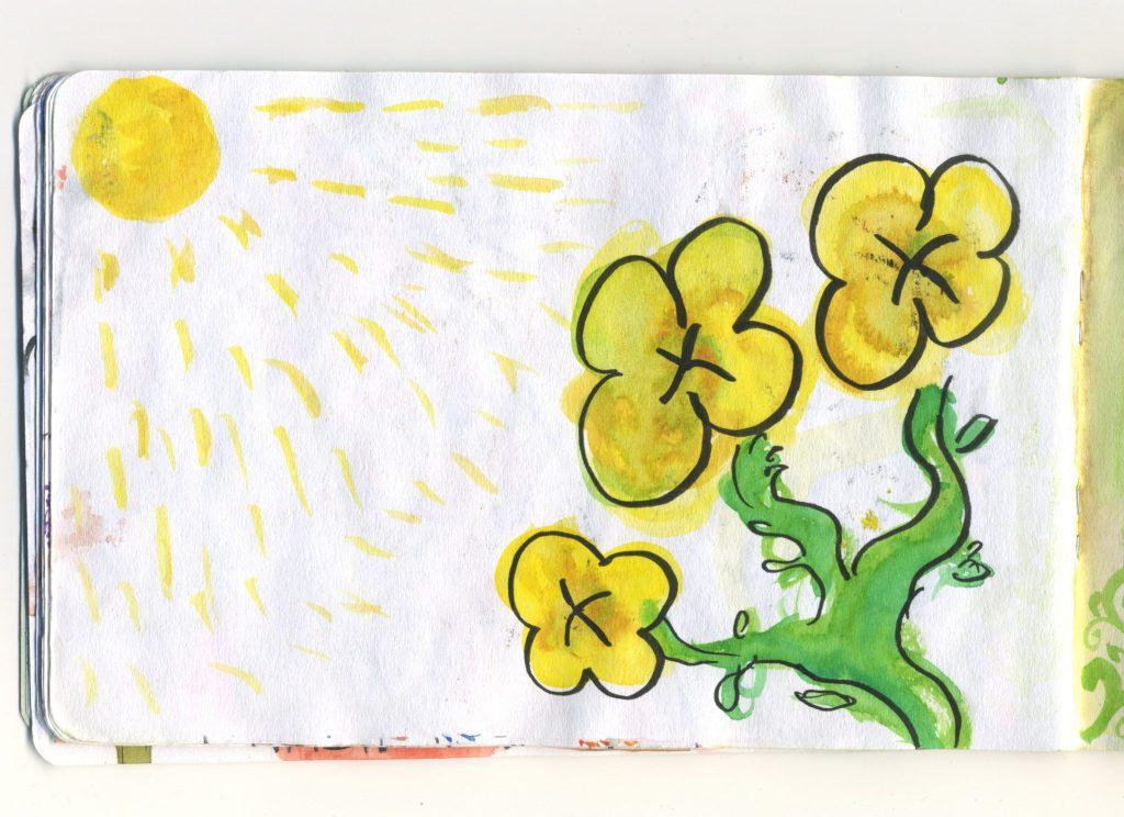 A watercolour sketch of yellow primroses.