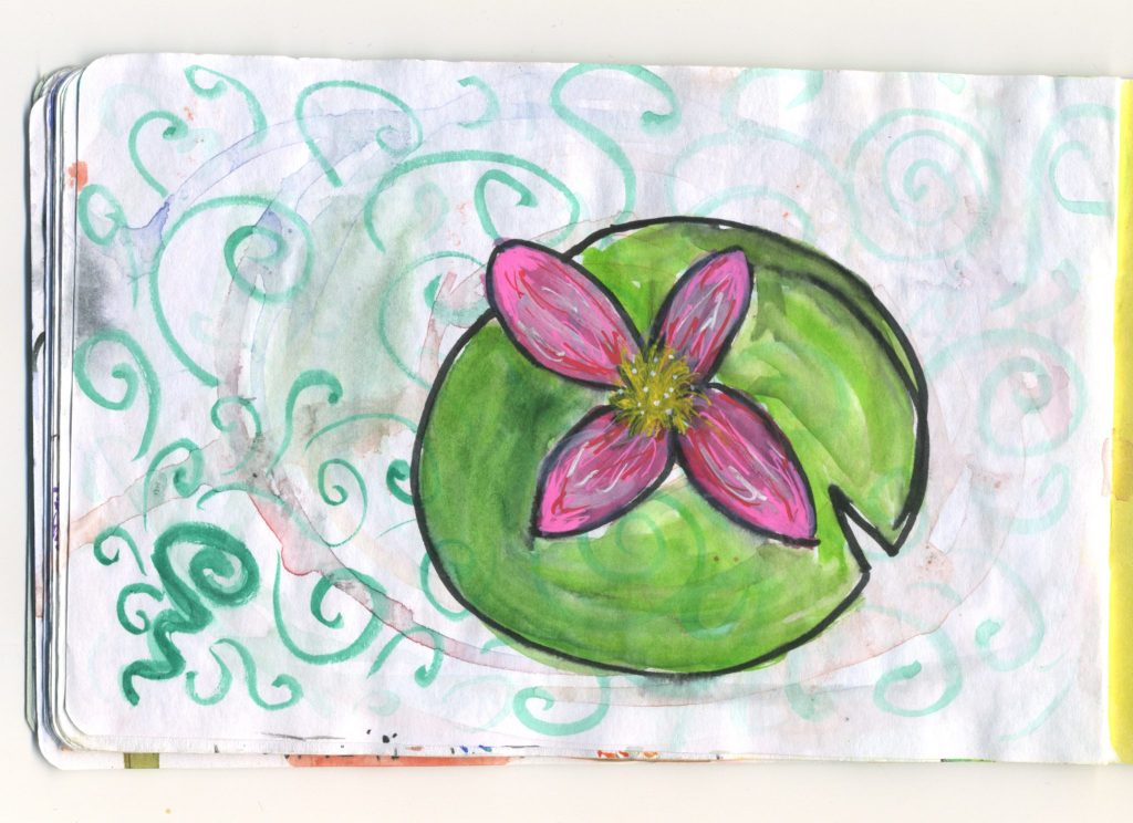 A watercolour sketch of a waterlily.