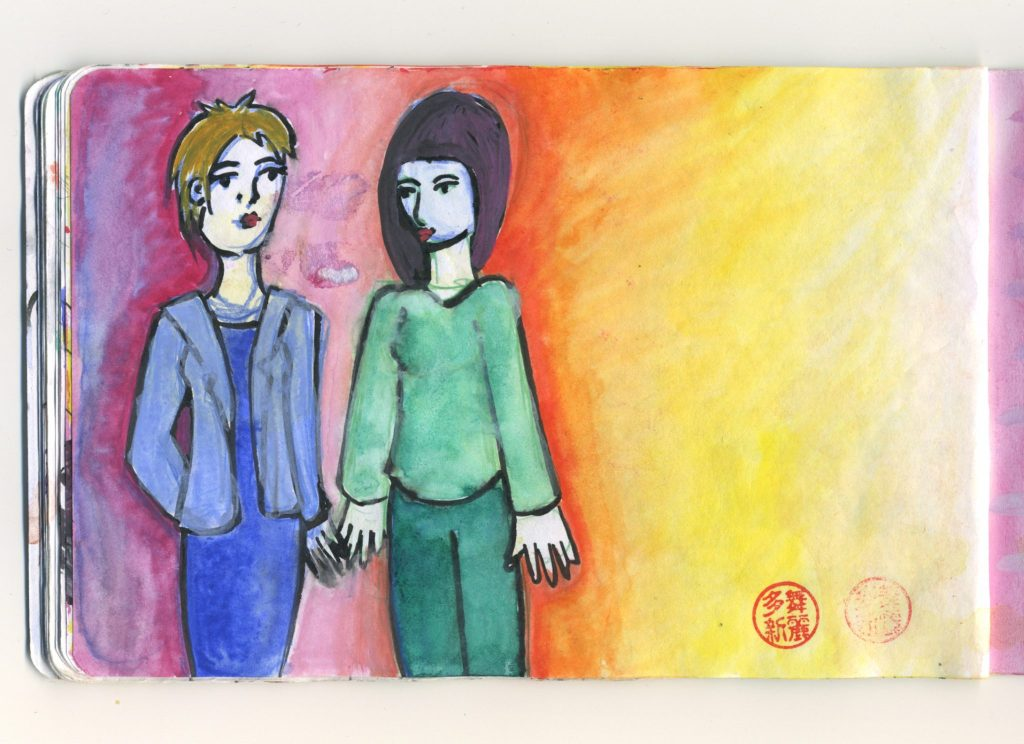 A watercolour sketch of two women, one in a blue dress and blazer, one in a green blouse and trousers, the background colours are similar to a sunset.