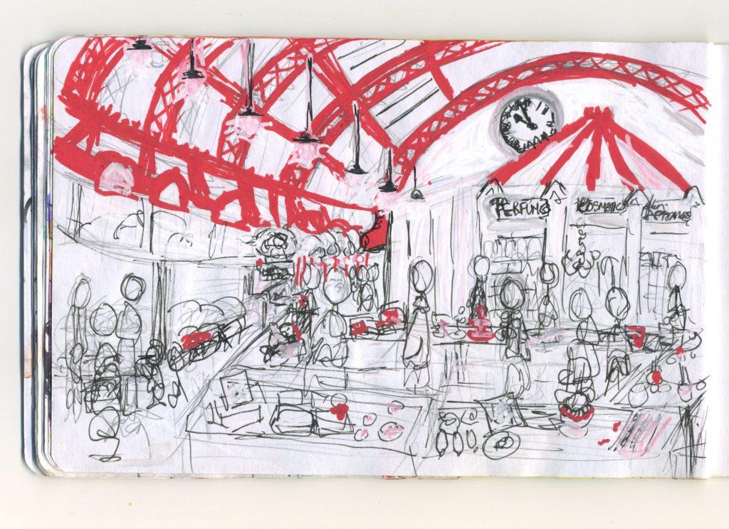 A pencil and posca pen sketch of the Grainger Market.