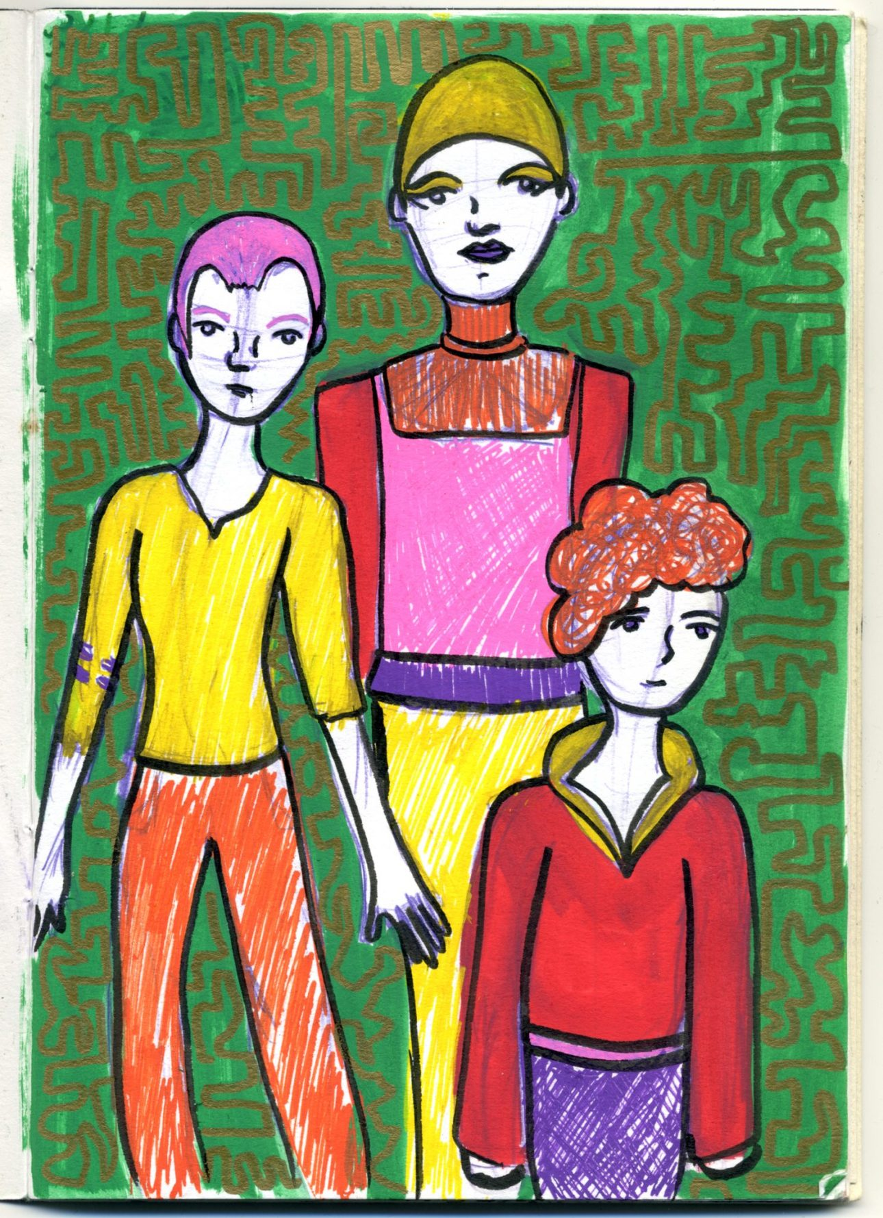 A posca pen sketch of three figures, using a limited palette of colours.