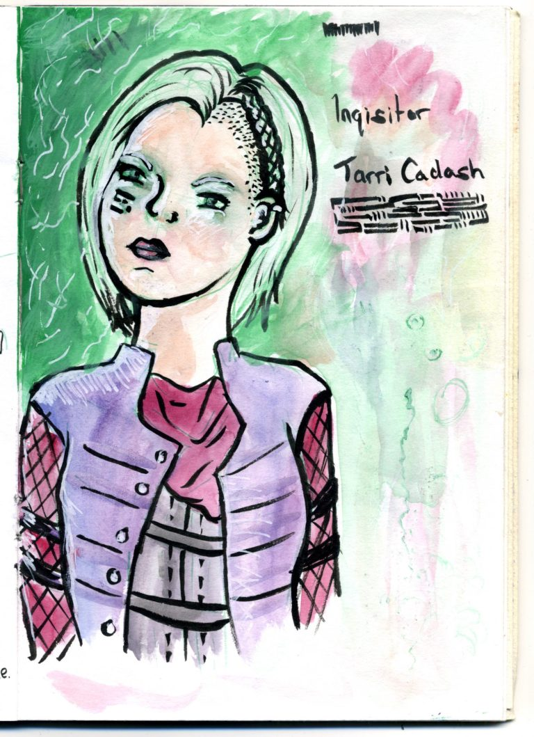 A coloured brush pen sketch of my inquisitor from Dragon Age: Inquisition