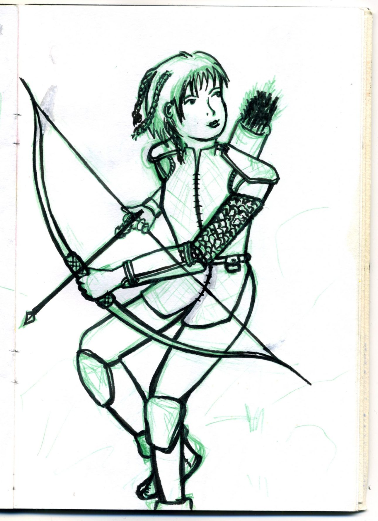 A young woman with a bow and arrows in armour preparing to shoot.