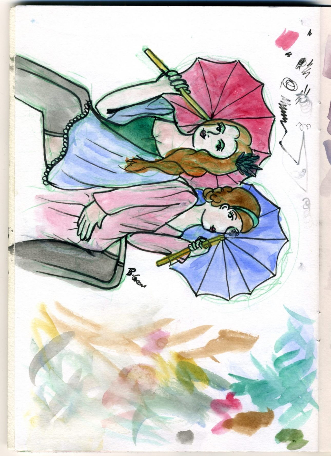 A watercolur sketch of two women with parasols and flowing fabric dresses.