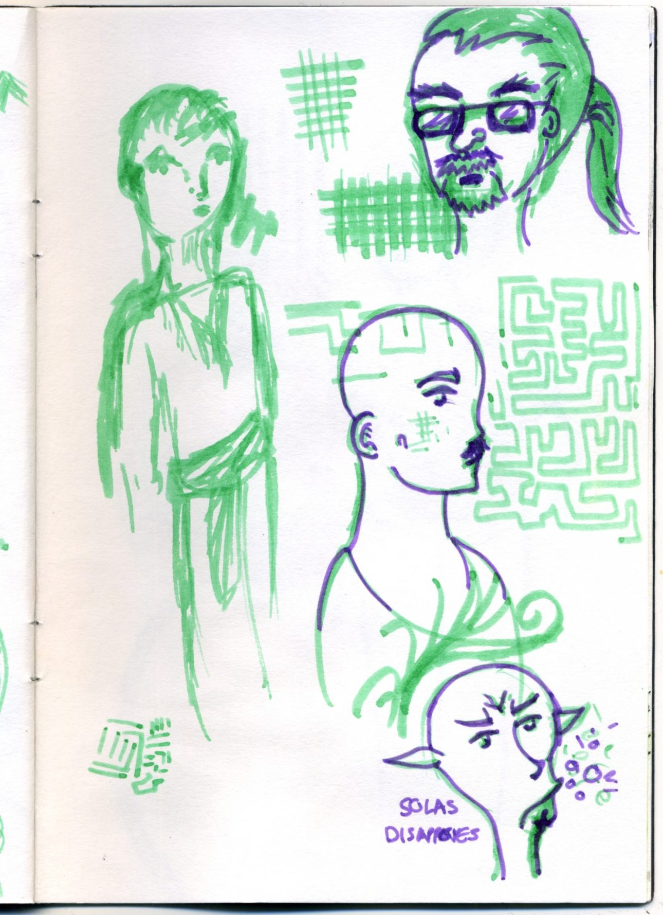 A set of pen sketches in green and blue.