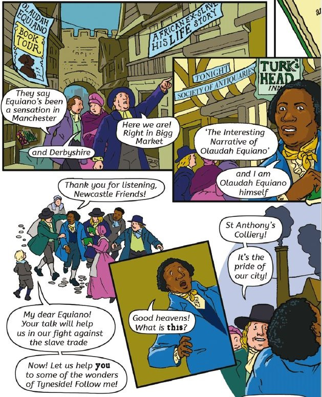 An extract on Olaudah Equiano in Freedom City Comics.