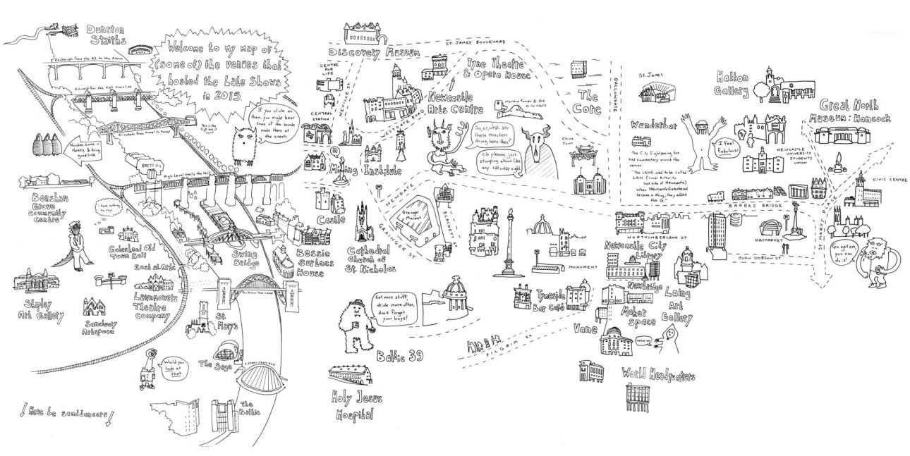 A map of Newcastle and Gateshead venues for the Late Shows by Mike Duckett