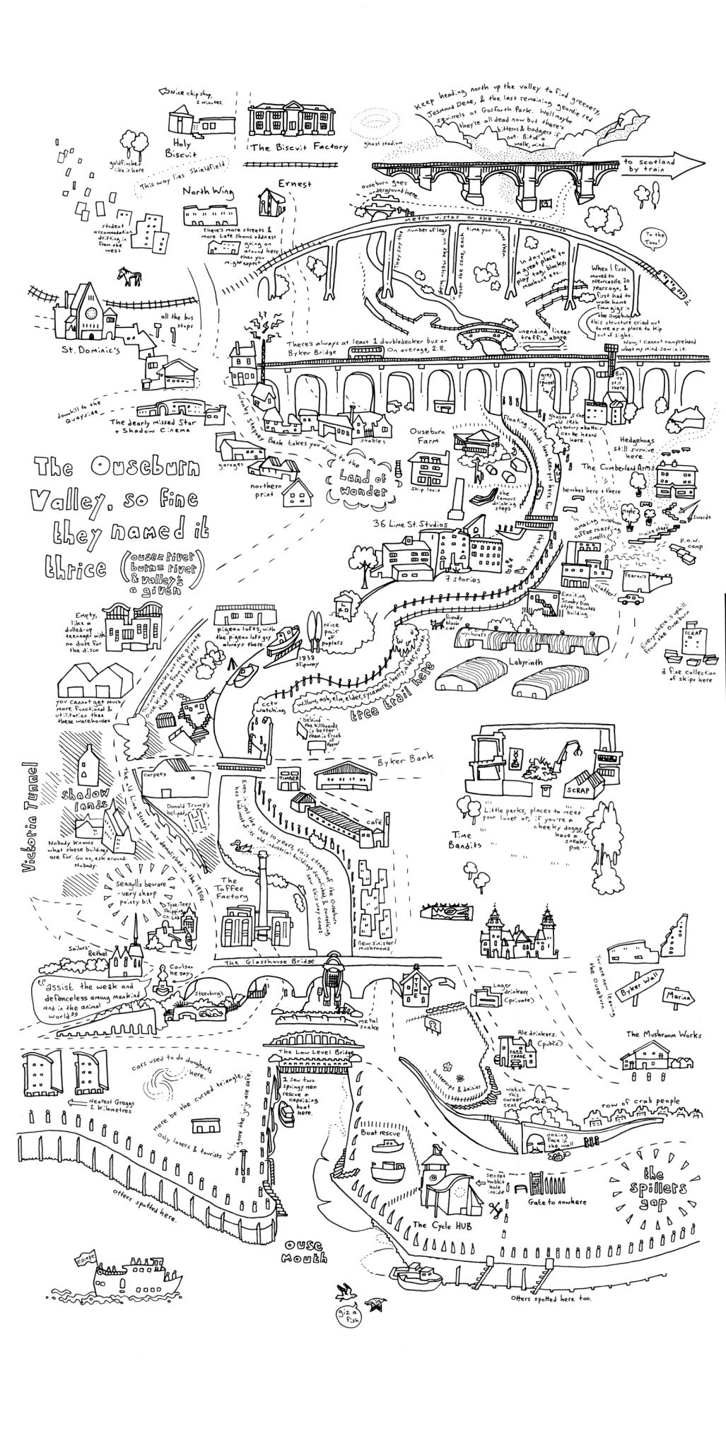 An illustrated map of the Ouseburn Valley for the Late Shows by Mike Duckett.
