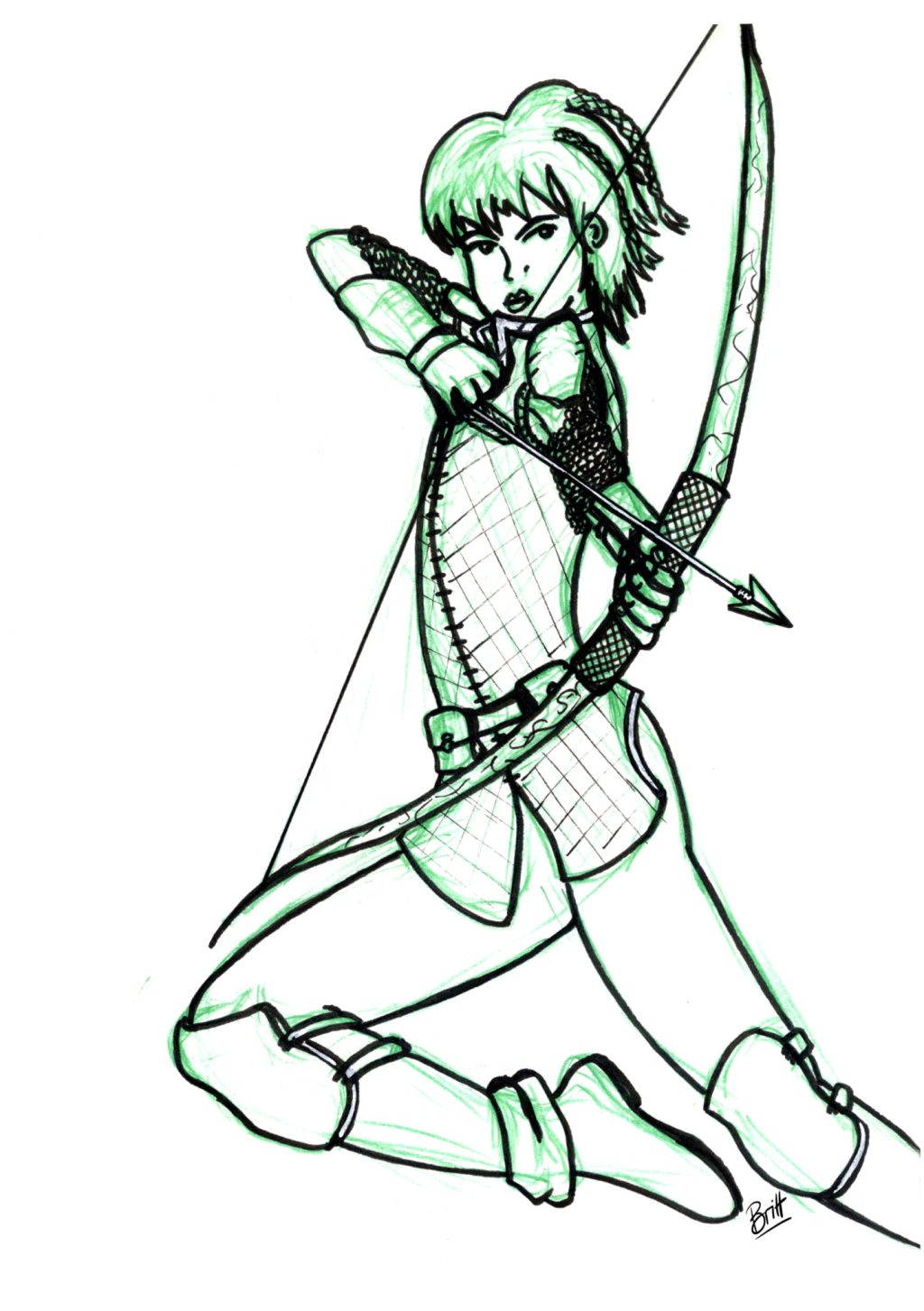 Berna, one of my D&D characters, a ranger shooting her bow and arrow.