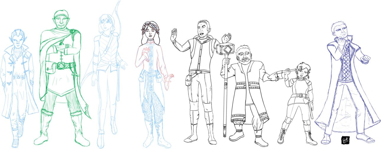A work in progress sketch of my Dungeons and Dragons team.