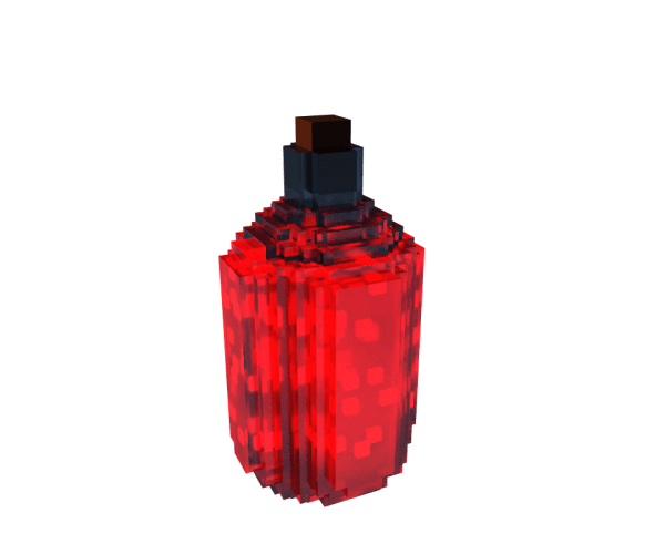 A voxel image of a red glowing potion bottle.