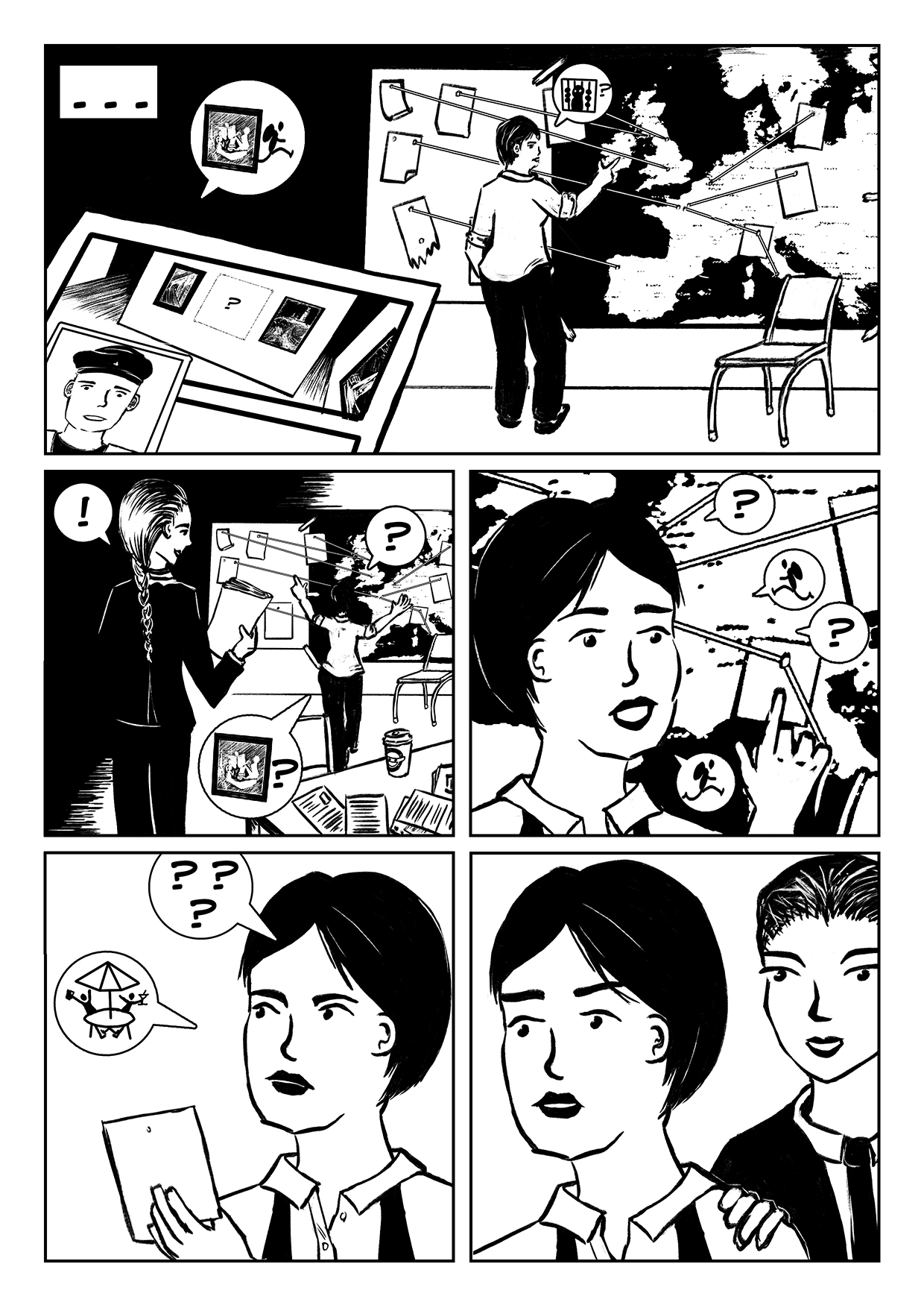 Holiday Heist Comic page 2, a comic about two detectives tracking down an art thief.