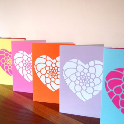 Mini Flower Heart Cards in yellow, bright pink, orange, lilac and pastel blue.