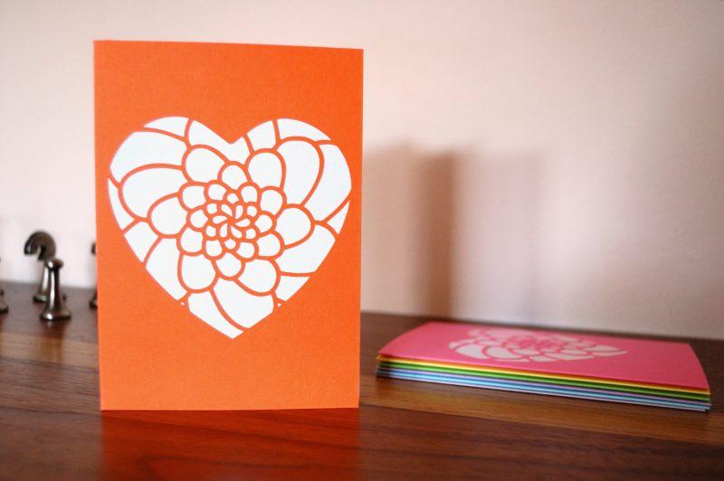 Mini Flower Heart Card in orange and white