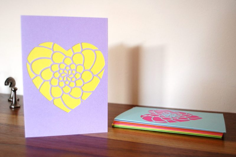 Mini Flower Heart Card in lilac and yellow