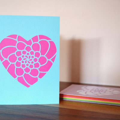 Mini Flower Heart Card in pastel blue and bright pink