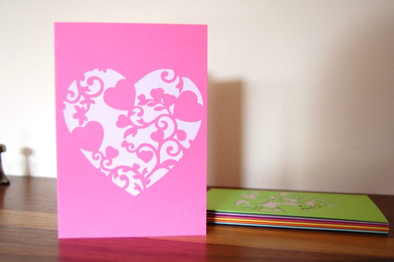 Mini Floral Vine Hearts Card in pink and lilac